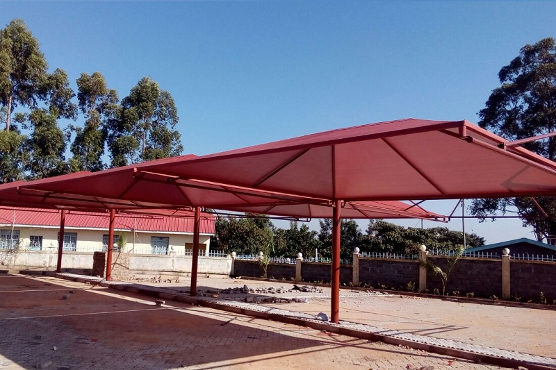 BRICKRED CANTILEVER CAR SHADE
